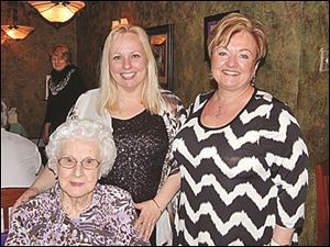 From left, Thelma Cyigon of Maumee with D.O.V.E. trustee Julie Oswald Abbey of Maumee, and Candy Vanderhaven of  Plymouth, Mich.