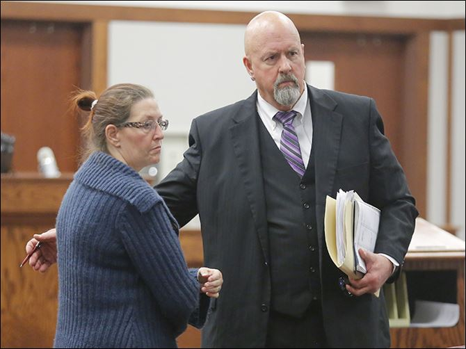 n5bicycle-1 Lynne Smith and her attorney, Tom Stebbins, leave Ottawa County Municipal Court in Port Clinton. She is charged with vehicular homicide in the death of Emilee Gagnon of Holliston, Mass., who was struck and killed Sept. 23 on State Rt. 163 near Genoa while riding her bicycle.