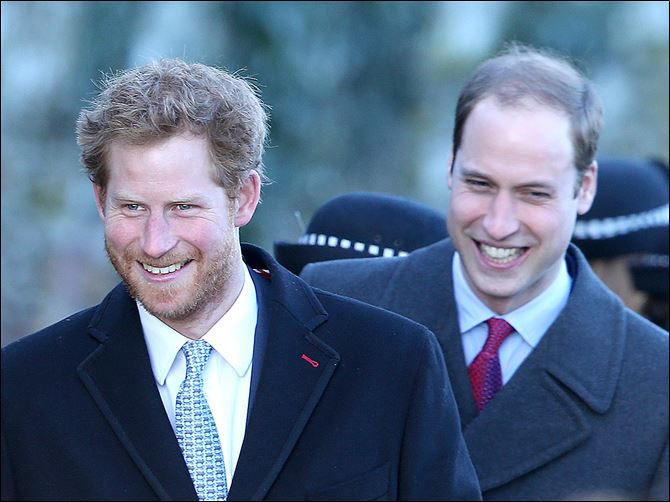 Prince Harry, left, and Prince William, Duke of Cambridge, pictured in this photo from Dec. 25, 2013, were spotted at a Memphis BBQ restaurant on Thursday.