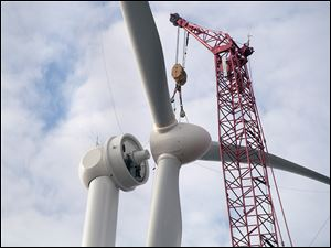A rotor is installed on a wind turbine in Van Wert County, a site with large wind-energy farms in northwest Ohio.