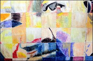 A colorful collage that depicts the Rev. Martin Luther King, Jr., was made in the art class by one of the young inmates in the detention center.