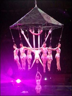 Performers hang during an aerial hair-hanging stunt at the Ringling Brothers and Barnum and Bailey Circus, Friday in Providence, R.I. A platform collapsed during an aerial hair-hanging stunt at the 11 a.m. performance Sunday, sending eight acrobats plummeting to the ground.