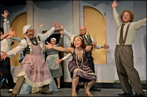 The cast rehearses a number in the Fremont Community Theatre's production of  'The Drowsy Chaperone.'