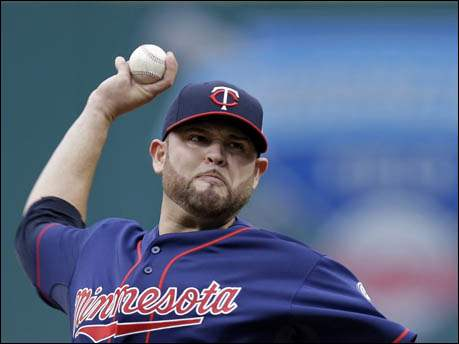 Minnesota Twins starting pitcher Ricky Nolasco delivers against the Cleveland Indians.