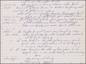 The piece of lined paper with original 'Born To Turn' lyrics is going on display Thursday at Duke University. Floyd Bradley bought the lyrics at Sotheby's auction late last year and is letting Duke display them through the end of June.