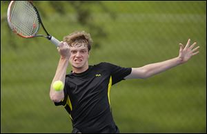 Perrysburg senior Troy Weider returns a shot against Southview's Cody Wurzelbacher while winning the NLL's No. 1 singles final.