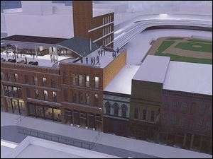 The Mud Hens plan to use historic buildings as a ballpark entrance.