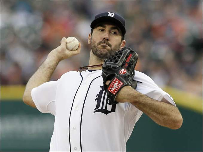 Detroit Tigers starting pitcher Justin Verlander throws during the first inning.
