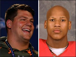 Former Michigan left tackle Taylor Lewan, left, and former Ohio State linebacker Ryan Shazier, right.
