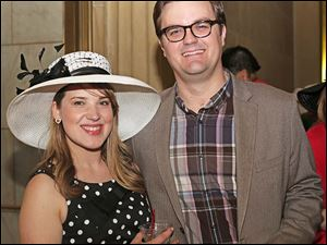Amy Trautwein, left, and Collin Stegeman attended the Circle 2445's annual Kentucky Derby party at the Toledo Museum of Art in Toledo.