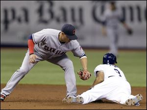 Rays' Desmond Jennings, right, slides into second base ahead of the tag by Cleveland Indians shortstop Asdrubal Cabrera.