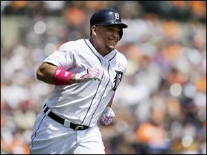 Miguel Cabrera runs to first on a single.
