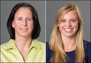 University of Richmond associate head women's basketball coach Ginny Doyle, left, and director of basketball operations Natalie Lewis. Doyle and Lewis were two of the three people aboard a hot air balloon that drifted into a power line, burst into flames and crashed on Friday.
