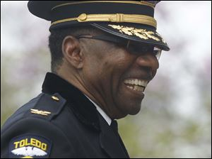 William Moton laughs after the annual memorial service.