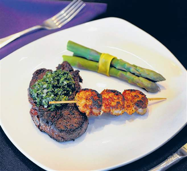 Steak-with-chimichurri-asparagus-blackened-shrimp