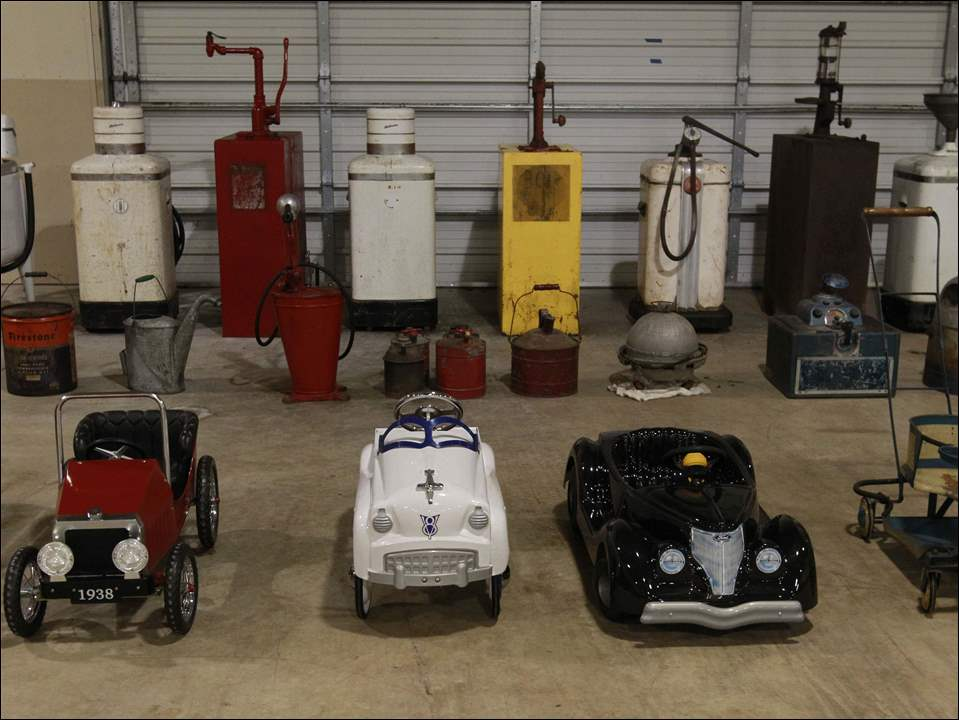 Toy cars and other memorabilia that will be auctioned off at the Erie County Fairgrounds in Sandusky, Ohio.