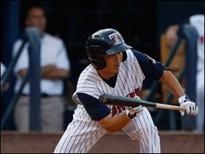 Toledo's Troy Hanzawa looks to bunt against Syracuse.