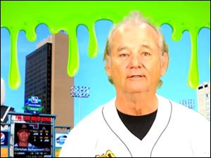 Screen grab of Bill Murray's Mud Hens/Ghostbusters promotional video.