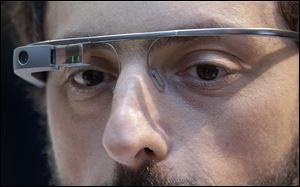 Google co-founder Sergey Brin wears Google Glass in San Francisco.