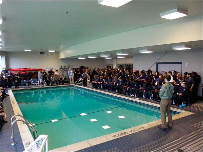 The Maritime Academy of Toledo hosted the Fifth Annual Great Corrugated Boat Race in the school's pool.