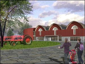 An artist's rendering of a proposed agricultural museum in Lenawee County's Blissfield shows the planned home for a collection of 6,000 farm toys and artifacts.