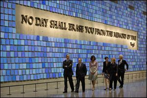 President Obama, first lady Michelle Obama, former New York City Mayor Michael Bloomberg, former Secretary of State Hillary Rodham Clinton, former President Bill Clinton, and Diana Taylor, tour the Memorial Hall at the National September 11 Memorial Museum.