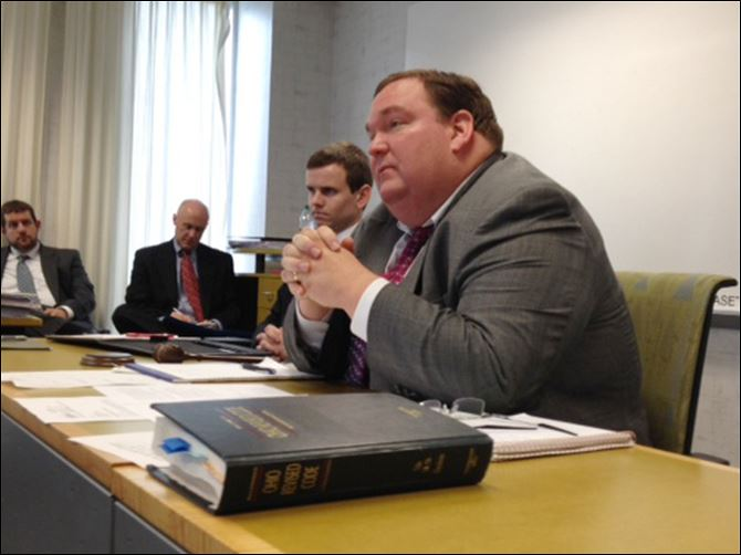 BOE hearing Matt Damschroder Matt Damschroder, a deputy assistant secretary of state, starts the hearing for fired Lucas County Board of Elections members and staff today at One Government Center in Toledo.