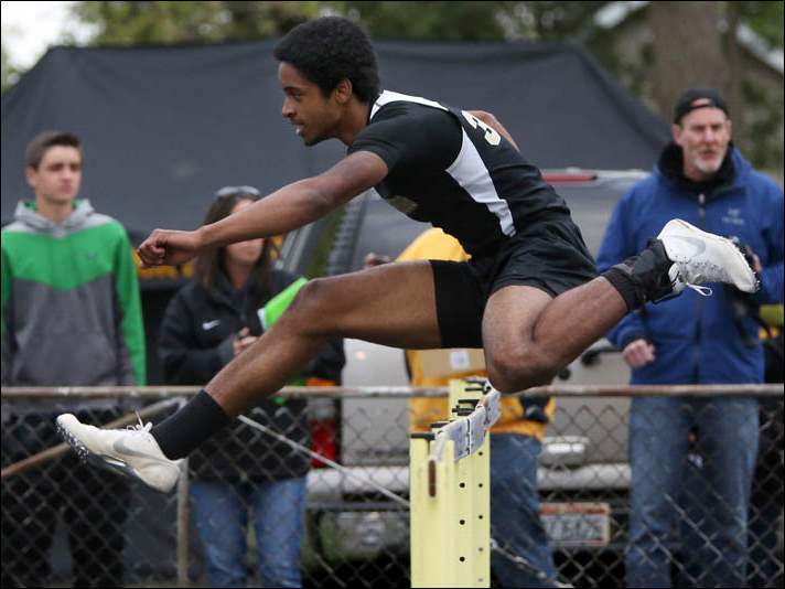Perrysburg's senior Brandon Lowery leads the pack in the 110 meter hurdles.