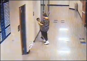 Riverdale teacher Barb Williams has been suspended for 10 days after a security camera showed her pushing Ian Nelson, 6, of Wharton, Ohio, against a wall.