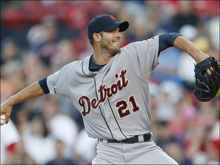 Detroit Tigers' Rick Porcello pitches in the first inning.