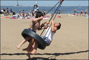 The beaches on the Lake Erie waterfront are fun places to cool off from the summer heat.