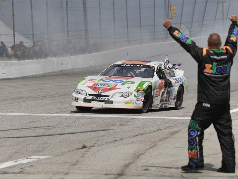 ZLOOP Toyota driver Justin Boston celebrates his victory after ARCA's Menards 200.