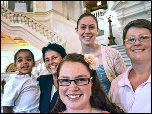 From left, Landon, Susan,  Abbey, Katie, and Deb Whitewood led the lawsuit that was filed in July to strike down Pennsylvania's ban on same-sex marriage. Altogether, 11 gay couples, two teenagers, and a widow were part of the lawsuit. Many now plan to get married.