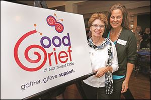 Alliene Liden, left, and guest speaker Kaye Lani Rafko Wilson attend the Good Grief of NW Ohio event.