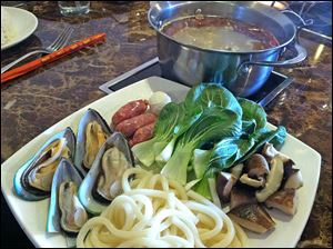 Seafood combination hot pot.