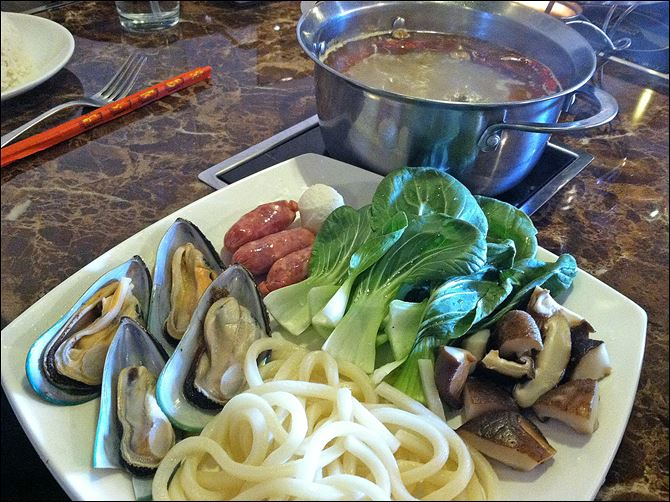 Seafood combination hot pot Seafood combination hot pot.