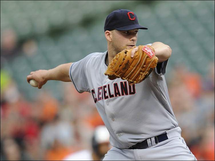 Cleveland Indians pitcher Justin Masterson delivers against the Baltimore Orioles.