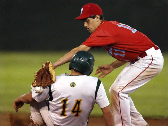 Start's Jared Eff (14) steals second base against Bowsher second baseman Nick Hill.