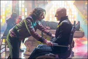 James McAvoy, left, and Patrick Stewart portray present and past versions of Professor X.