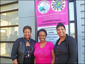 Toledo Chapter Jack and Jill of America, Inc. President Felicia Dunston, center, with National Day of Fitness Co-Chairs Rhonda Sewell, left, and Katina Johnson.