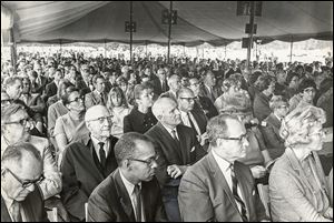 Hundreds attended the dedication ceremony for the Medical College of Ohio in Toledo in September, 1969.