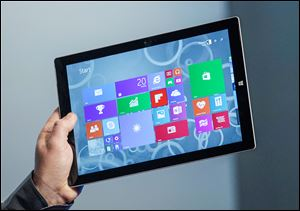 The Surface Pro 3 tablet device has a screen measuring 12 inches diagonally, up from 10.6 inches in previous models. Microsoft says it's also thinner and faster than before.