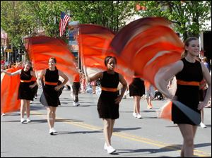 Part of the flag section of the Sylvania Southview High School Marching Band.