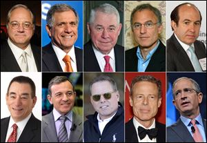 The 10 highest-paid CEOs of 2013, as calculated by The Associated Press and Equilar, an executive pay research firm. Top row, from left: Anthony Petrello, Nabors Industries, $68.2 million; Leslie Moonves, CBS, $65.6 million; Richard Adkerson, Freeport-McMoRan Copper & Gold, $55.3 million; Stephen Kaufer, TripAdvisor, $39 million; and Philippe Dauman, Viacom, $37.2 million. Bottom row, from left: Leonard Schleifer, Regeneron Pharmaceuticals, $36.3 million; Robert Iger, Walt Disney, $34.3 million; David Zaslav, Discovery Communications, $33.3 million; Jeffrey Bewkes, Time Warner, $32.5 million; and Brian Roberts, Comcast, $31.4 million.