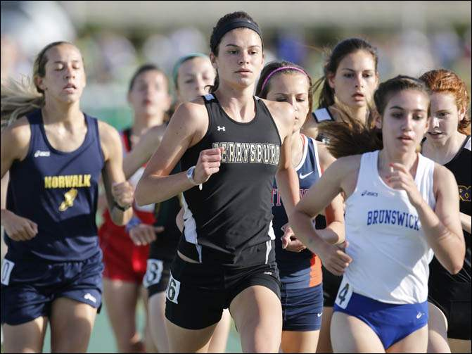 Courtney Clody of Perrysburg leads the pack in the 1600 meter run.