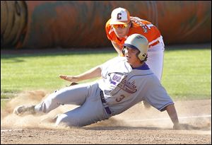 North Royalton's Bryan Bielak eludes the tag of Southview's Griffin McDonald for a triple in the third inning of the Cougars' 3-1 loss in a regional final at Bowling Green on Friday.