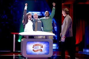 The team Kori's Crusaders, with host Jeff Foxworthy, on 'The American Bible Challenge.'