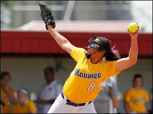 Maumee pitcher Kiara Hurley winds up to throw a pitch.