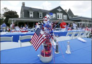 Festive decorations on the tables during the Memorial Day picnic and fireworks at Toledo Country Club.