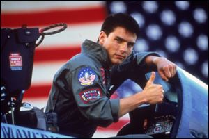 Tom Cruise is shown in a promotional image for the 1986 film,